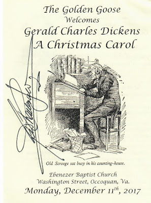 Autographed flyer for Gerald Charles Dickens one-man version of A Christmas Carol