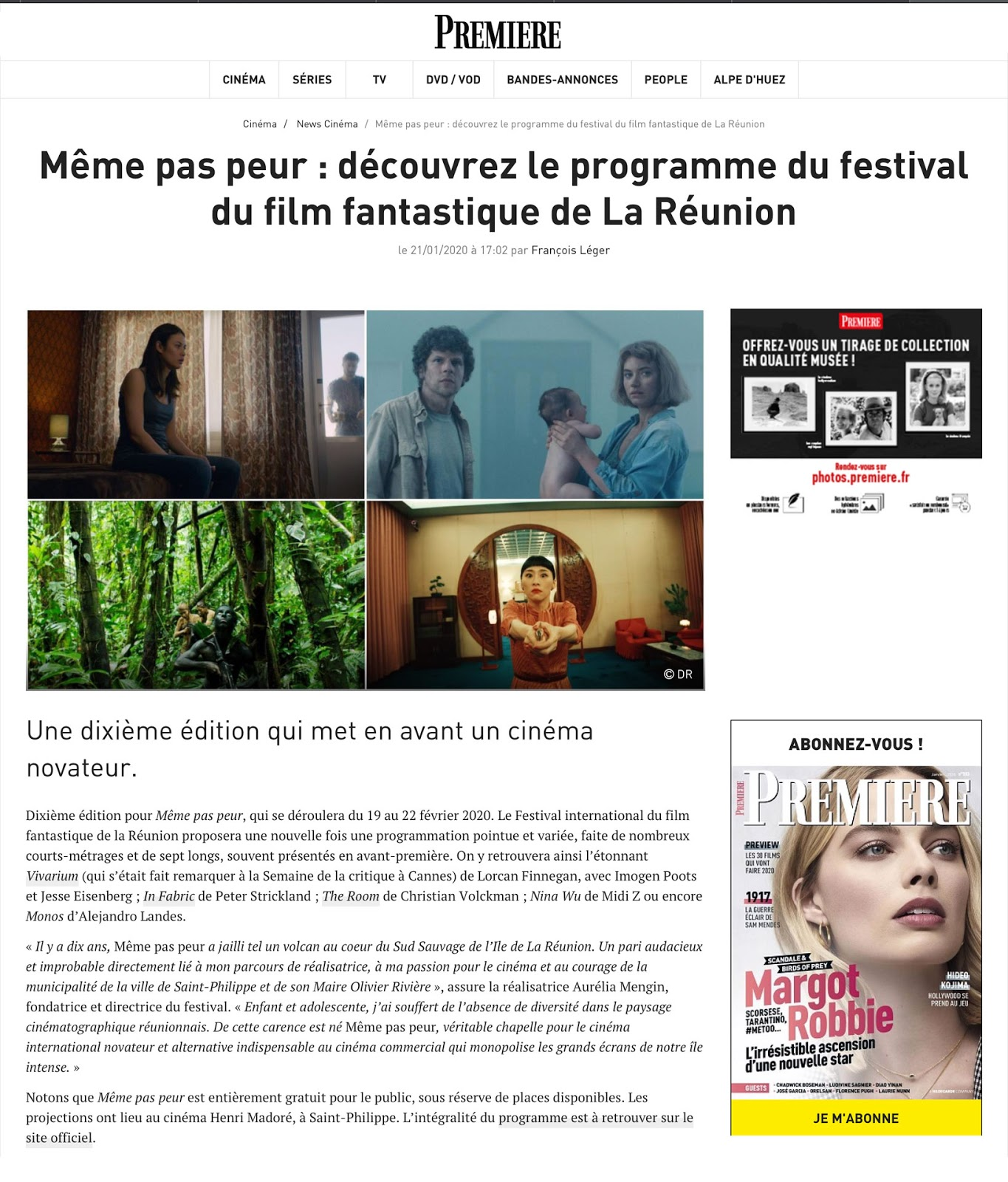 La Sélection Officielle du 10ème Festival MEME PAS PEUR dans PREMIÈRE
