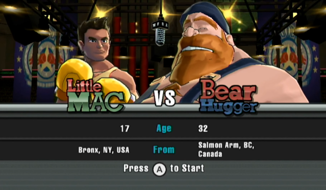 Punch-Out!! Wii Bear Hugger title defense Salmon Arm British Colombia Canada introduction