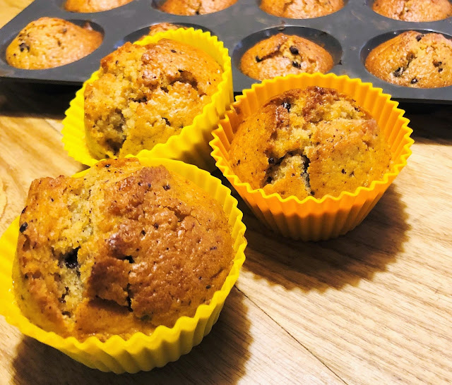 Muffins aux pommes, chocolat et caramel