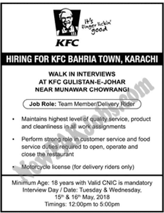 walk-in-interview-for-kfc-bahria-town.