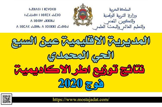 المديرية الاقليمية عين السبع الحي المحمدي: نتائج توزيع اطر الاكاديمية فوج 2020