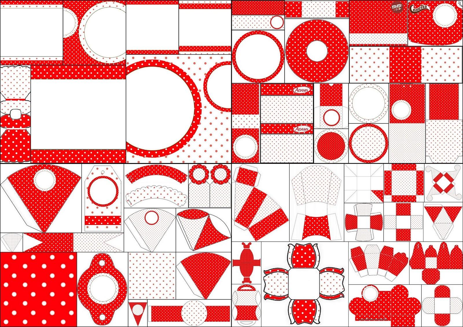 Kit en Rojo y Blanco con Lunares para Primera Comunión para Imprimir ...