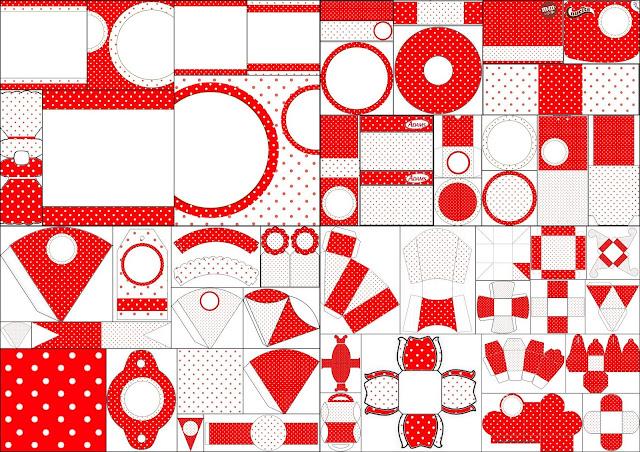 Kit Rojo y Blanco con Lunares para Fiestas para Imprimir Gratis.