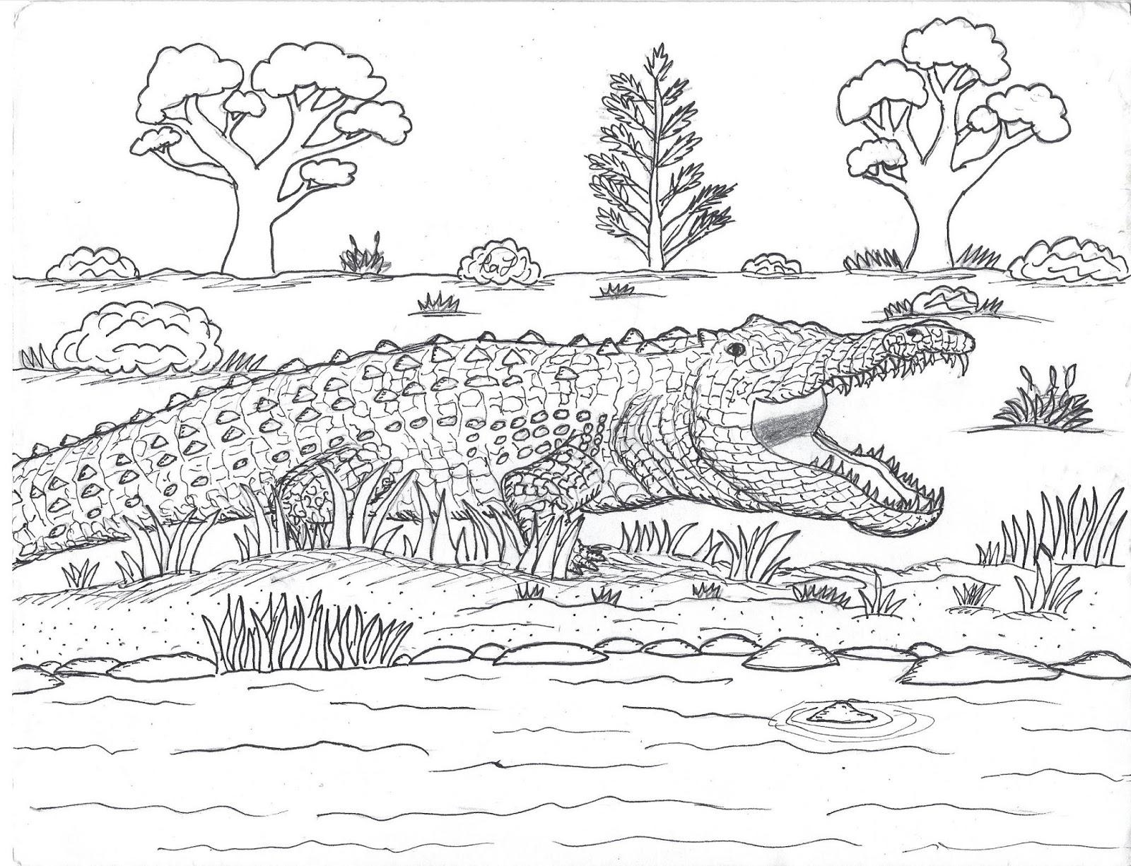 Sarcosuchus - Prehistoric Crocodile coloring page | Free Printable ... | 1226x1600