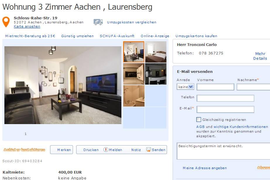 tronconi67uoutlookcom alias Herr Tronconi Carlo  Gegen Wohnungsbetrug against rental scammers