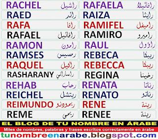 Nombres escritos en arabe: Rafael, Raquel, Ramon