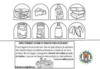 Atividades sobre reciclagem do lixo