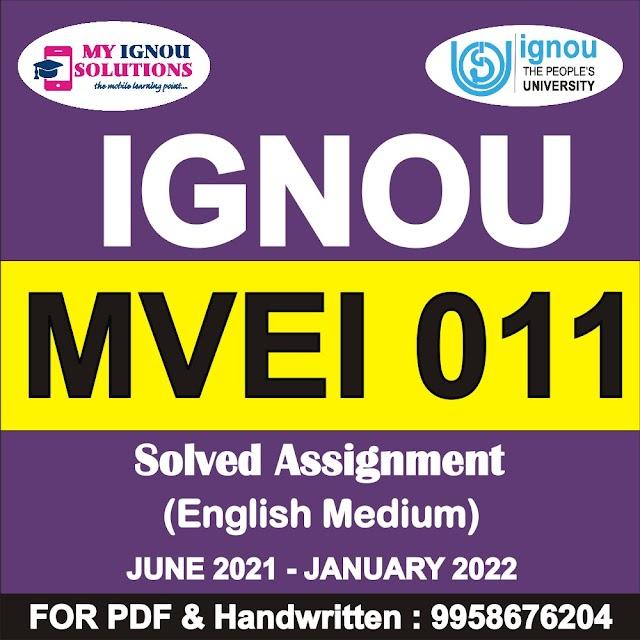 MVEI 011 Solved Assignment 2021-22