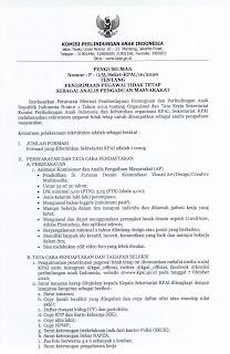 Rekrutmen Tenaga Kerja Komisi Perlindungan Anak Oktober 2020