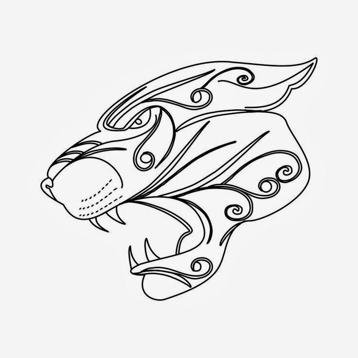 Panther head tattoo stencil