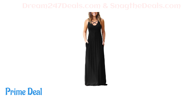 50% OFF LACOZY Women's Loose Plain Sleeveless Racerback Maxi Dresses Casual Long Dress with Pockets