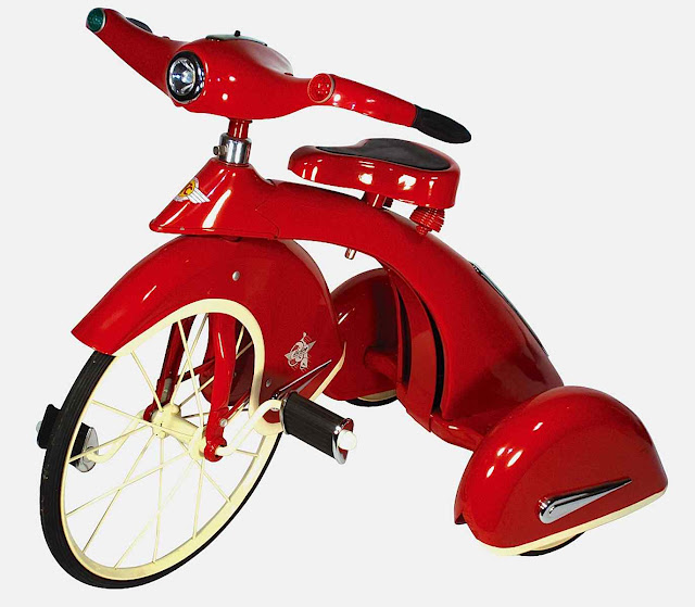 streamline tricycle in red 1940s