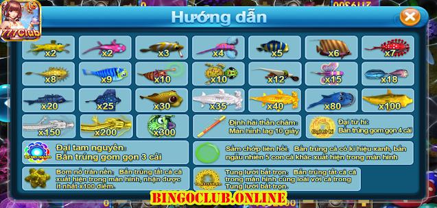 Các loại cá trong game Ve sầu bắt cá