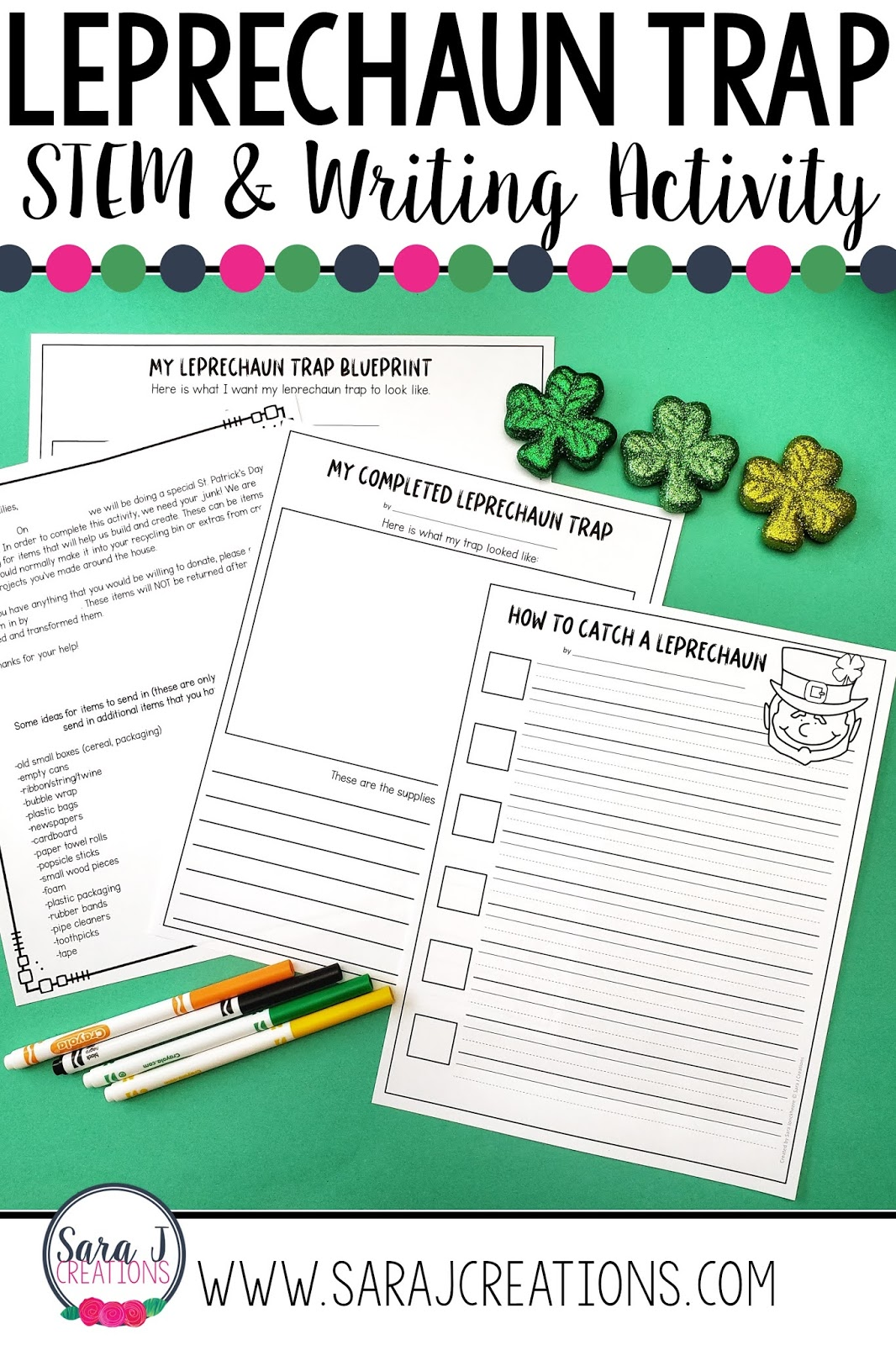 Check out this leprechaun trap making idea for kids. An easy to use project idea where students create a leprechaun trap out of recycled items and then write how to catch a leprechaun. Even includes a letter to parents to help gather supplies for building. So much St. Patrick's Day fun!