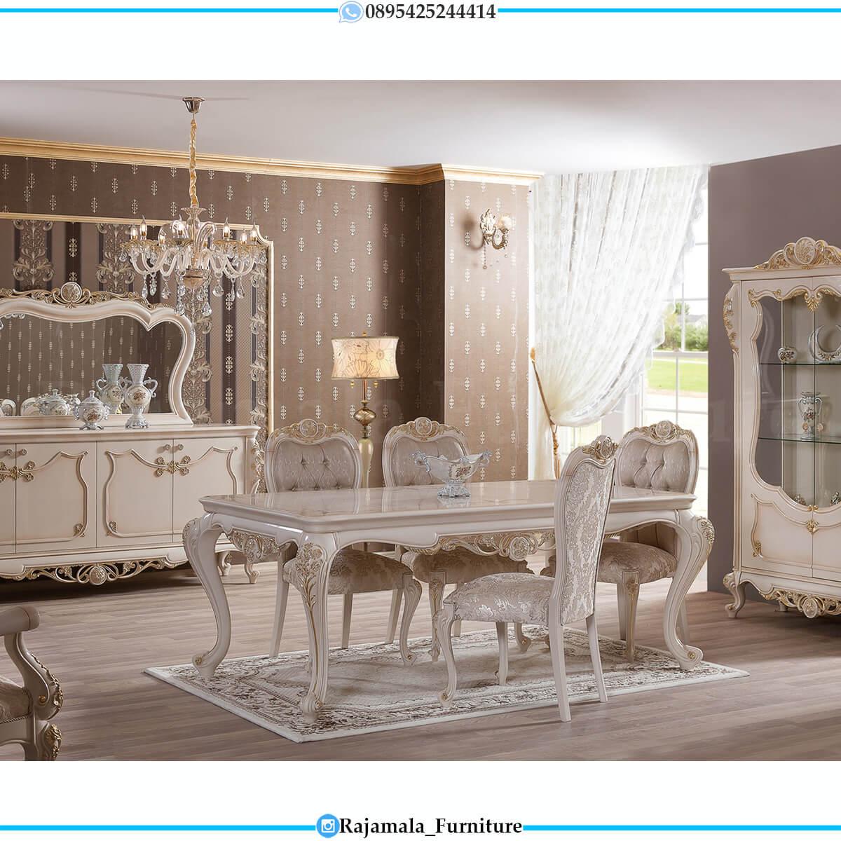 Desain Meja Makan Mewah Putih Duco Ukiran Luxury Classic Elegant RM-0712