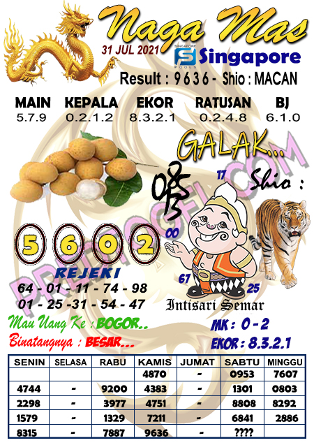 Syair Nagamas SGP Sabtu 31 juli 2021