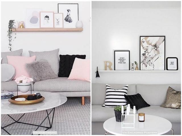 prateleira quadros em cima do sofá