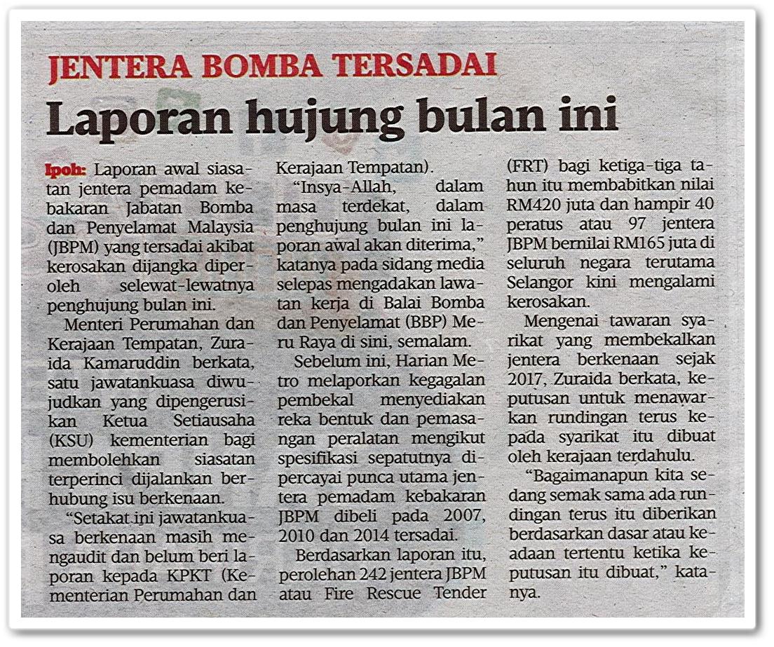 Jentera bomba tersadai ; Laporan hujung bulan ini - Keratan akhbar Harian Metro 13 Mei 2019