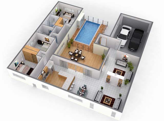 denah rumah mewah dan kolam renang