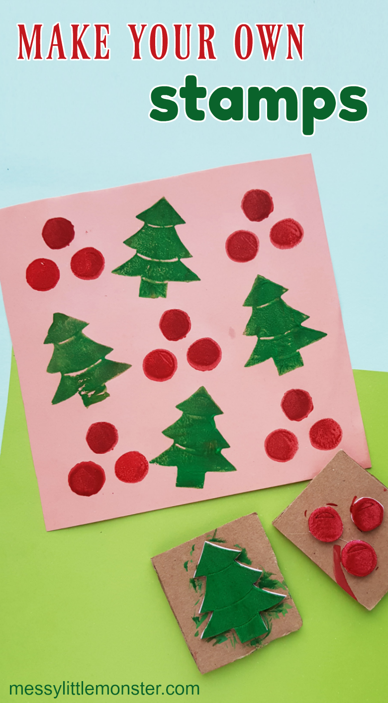 How to make your own stamp wrapping paper. Homemade stampers Christmas craft for kids.