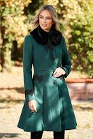 Palton verde StarShinerS best impulse elegant din lana cu insertii de broderie captusit pe interior