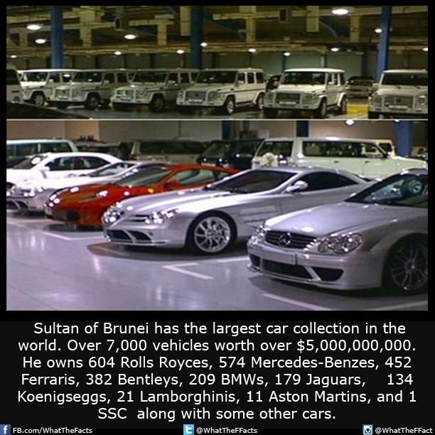 Sultan of Brunei owns over 7,000 vehicules worth over $5,000,000,000.