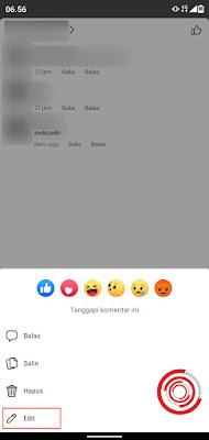 1. Jika kalian menggunakan aplikasi Facebook Seluler, silakan tekan lama komentar miliki kalian yang ingin di edit kemudian pilih pilihan Edit