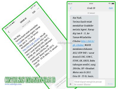 Contoh SMS Panggilan GRAB