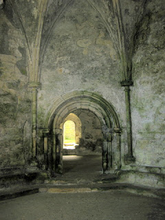 View through a series of arched doorways in the Chapter House, Inchcolm Abbey, Inchcolm, Scotland