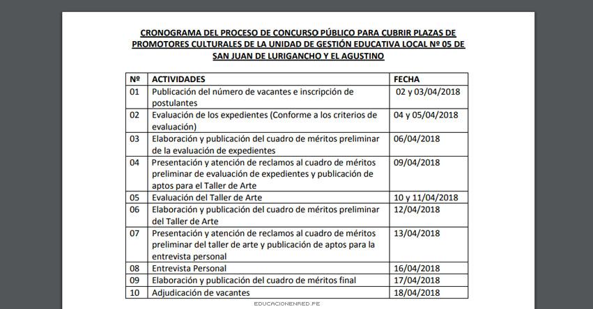 Cronograma Concurso Público para cubrir plazas de promotores culturales en la UGEL 05 - www.ugel05.gob.pe