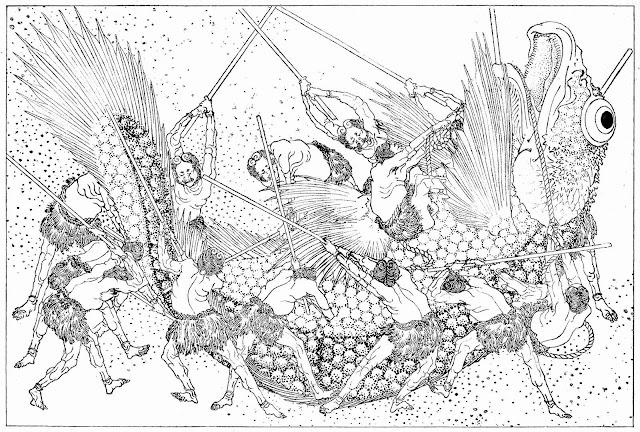 Japan 1890 art, men killing a giant fish