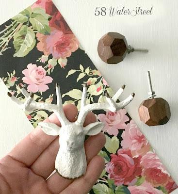 DIY, hardware, floral paper