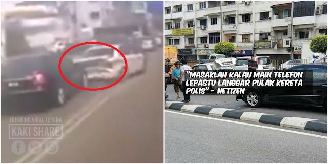 Kereta Mercedes Langgar Kereta Peronda Polis, Netizen Tuduh Pemandu Cuai