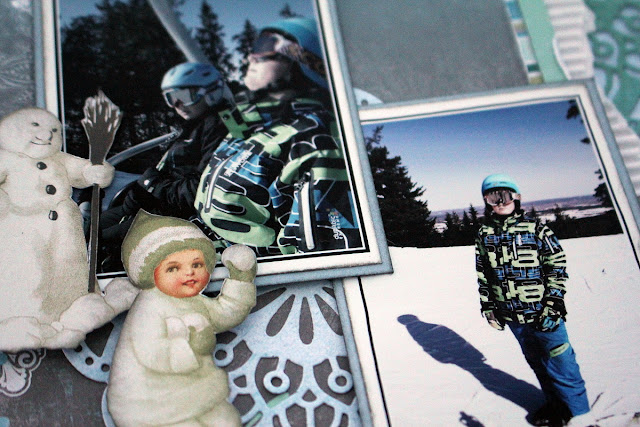 Skidor Och Sol Scrapbook Page by Ulrika Wandler using BoBunny Winter Playground Collection