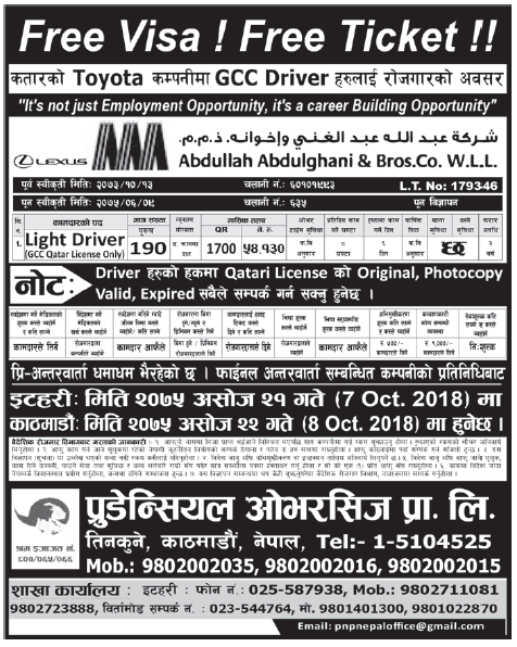 Free Visa Free Ticket Jobs in Qatar for Nepali, Salary Rs 54,130