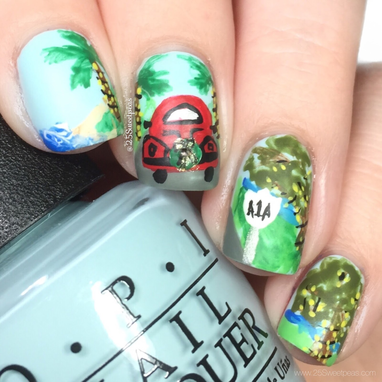 Florida Christmas Nail Art