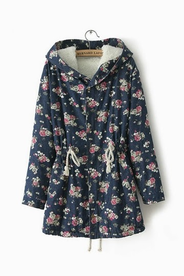 Vintage-flower-printing-hooded-fleece-coat
