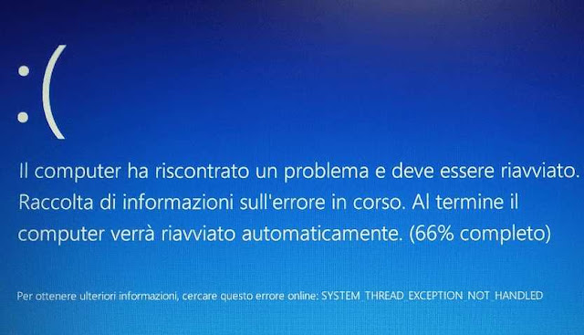 Windows 10 schermata blu problema errore