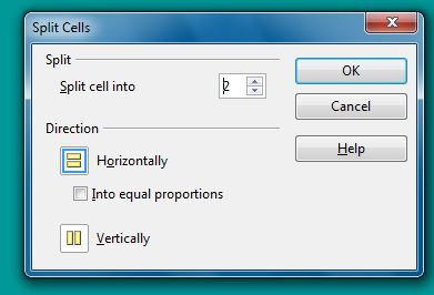 Split Cells dialog box OO Writer 4.1.7