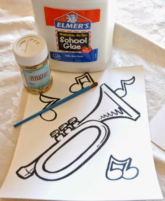 trumpet, glitter, glue