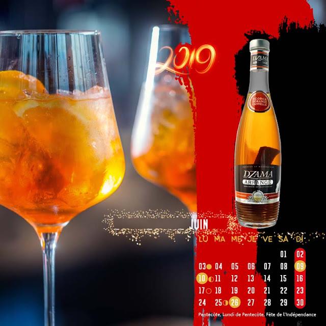 calendrier chevalet rhum Dzama arrangé juin
