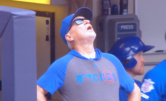 Joe Maddon startled by Flyover vs Brewers 7/28/2019