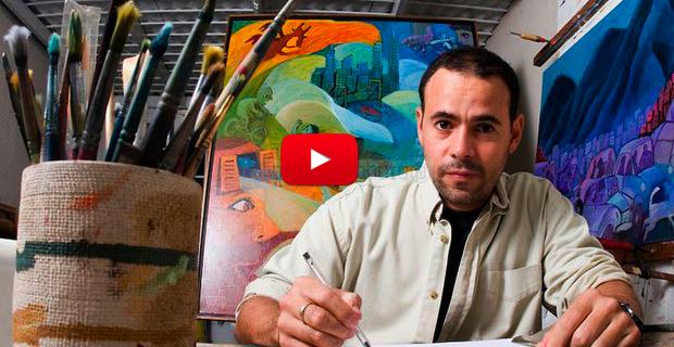 Luis Chataing entrevistando al caricaturista Roberto Weil