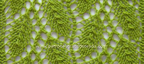 punto en esquema de hojas en diagonal dos agujas