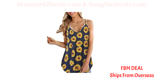 80%OFF  Floral Print Sunflowers  Cami Tank Tops