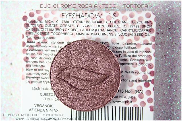 n 15 duochrome rosa antico tortora inci ombretto eyeshadow Purobio Cosmetics