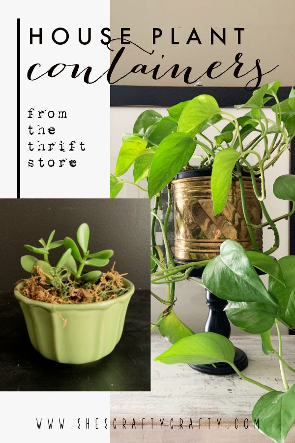Houseplant Container Ideas from the Thrift Store - Pinterest Pin.