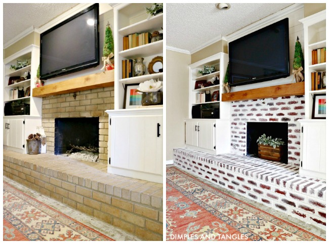 brick fireplace makeover, mortar wash, painted brick fireplace