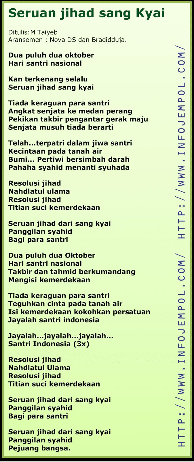 Lagu Hari Santri Nasional 2019 : santri, nasional, Lirik, Seruan, Jihad, -Lagu, Resmi, Santri, Nasional